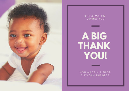 Purple Bordered Simple Thank You Card