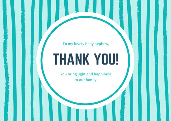 Turquoise and White Brush Strokes Baby Thank You Card
