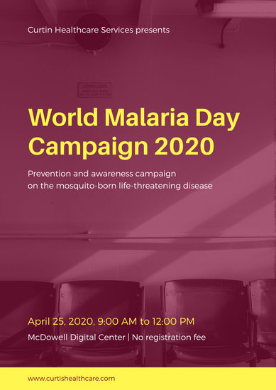Purple and Yellow Empty Chairs World Malaria Day Poster