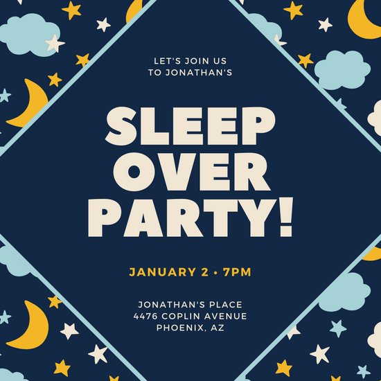 Dark Blue and Orange Geometric Pattern Sleepover Invitation