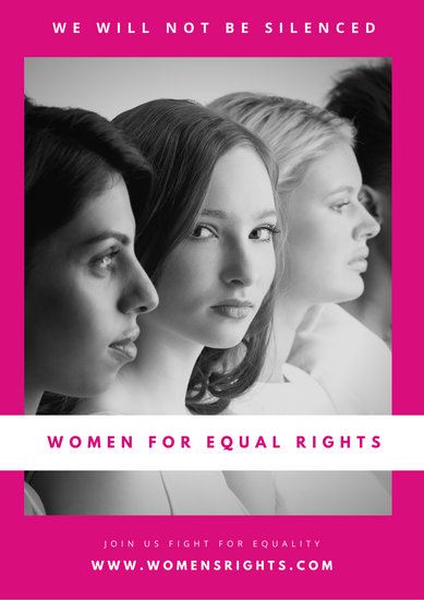 Pink with Grayscale Row of Girls Women's Rights Poster