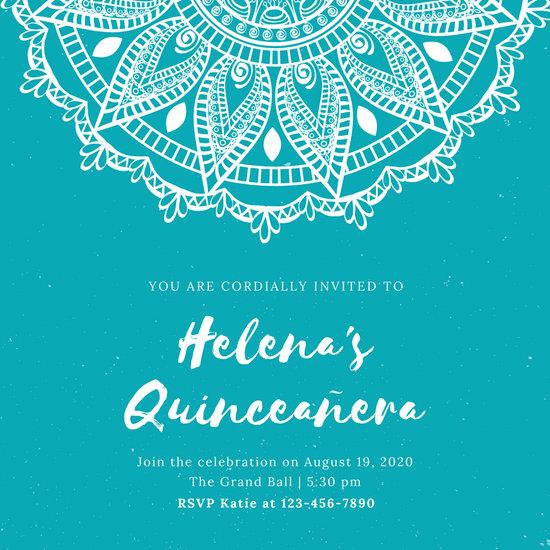Teal Mandala Quinceañera Invitation