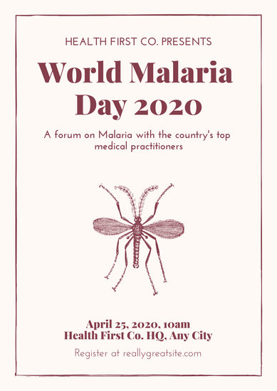 Cream and Red Simple Mosquito World Malaria Day Poster