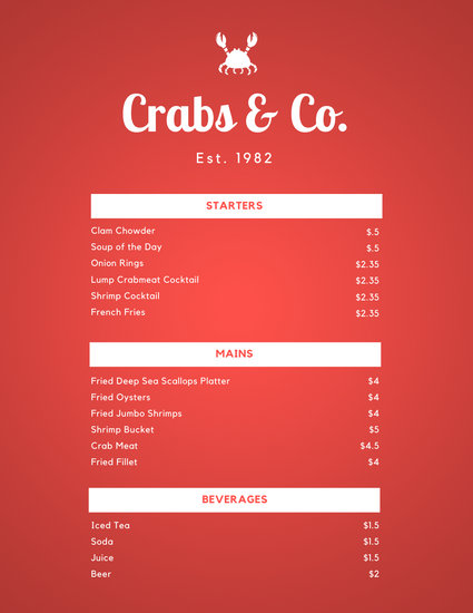 Red Textured Crab Seafood Food and Drink Menu