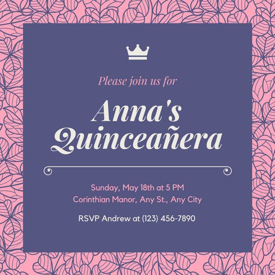 Purple and Pink Floral Patterned Quinceañera Invitation