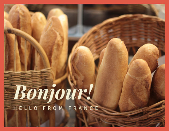 Orange French Bread Simple Postcard - French