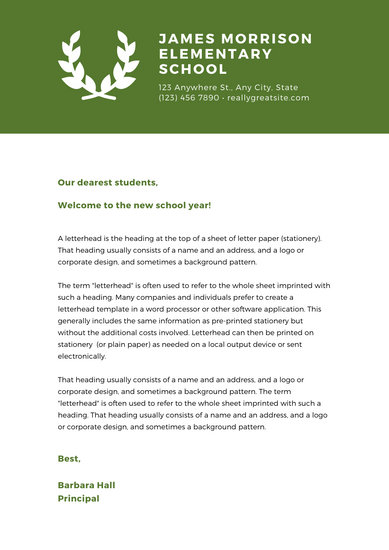 Green Laurel Welcome letter to parents School Letter
