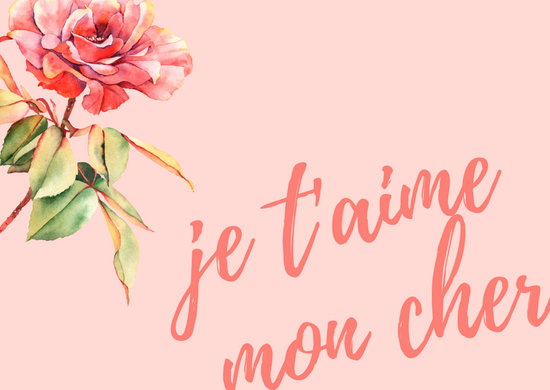 Pink Floral French Postcard