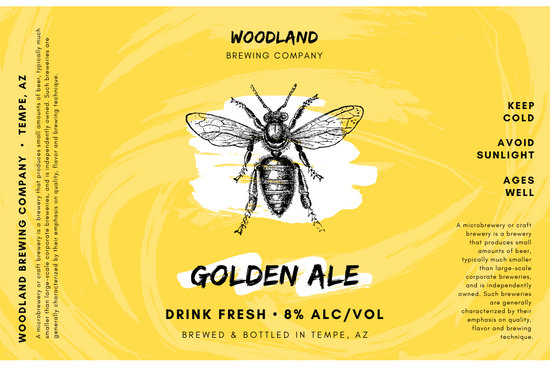 Golden Yellow White and Black Bee Brush Strokes Beer Label