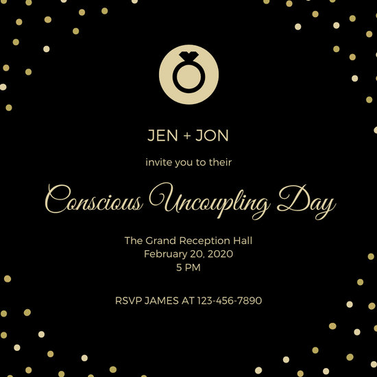 Gold Black Elegant Divorce Party Invitation