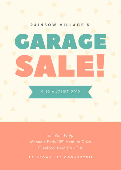 Teal and Coral Triangle Confetti Village Yard Sale Flyer
