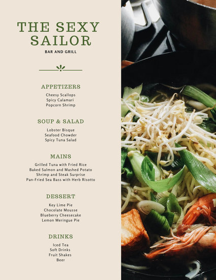 Beige and Green Seafood Food and Drink Menu