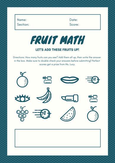 Blue White Bold Addition Math Games Worksheet