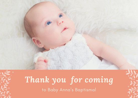 Salmon Baby Photo Baptismal Card
