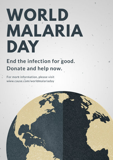 Gray Illustrated World Malaria Day Poster