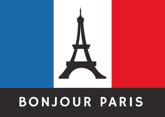 France Eiffel Tower Flag French Postcard