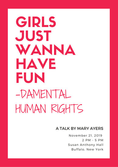 Bright Pink Bordered Women's Rights Poster