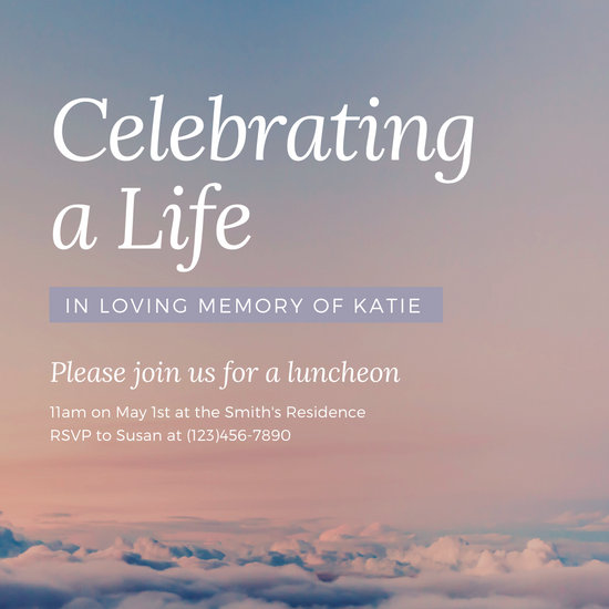 Pink Sky Sunset Life Memorial Invitation
