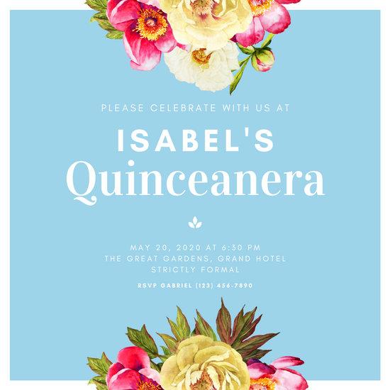 Light Blue & White Floral Quinceanera Invitation