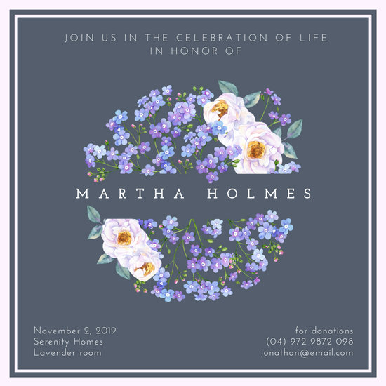 Dark Grey Floral Funeral Invitation