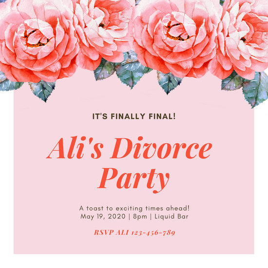 Pink Painted Floral Divorce Party Invitation