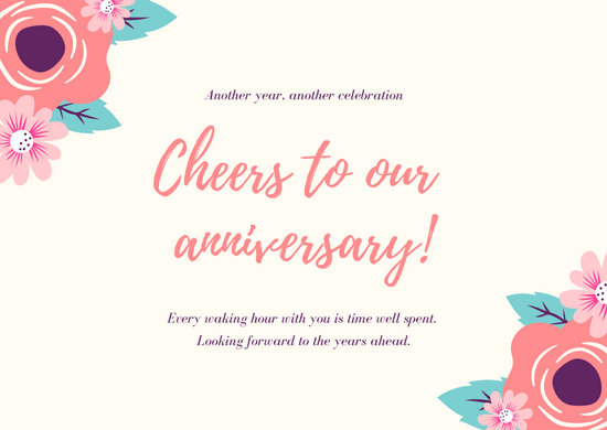 Pink Floral Greeting Anniversary Card