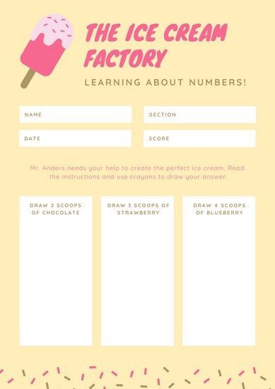 Pink and Yellow Confetti Ice Cream Math Games Worksheet