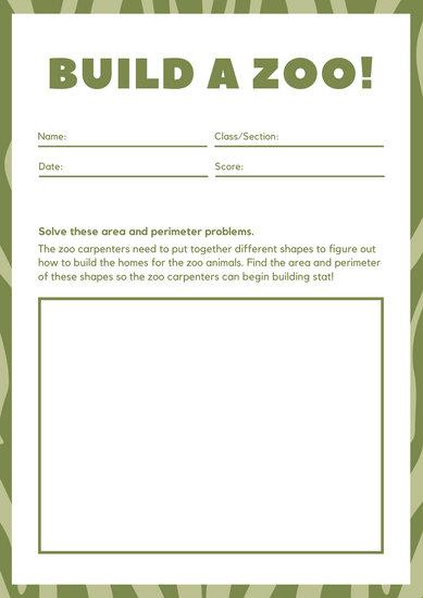 Green Zebra Print Math Games Worksheet