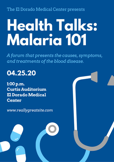 Blue and White Health Icons World Malaria Day Poster