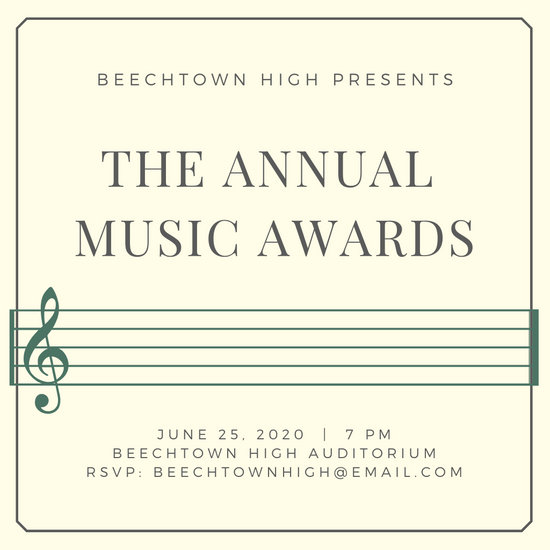 Musical Stave Line Awards Night Invitation