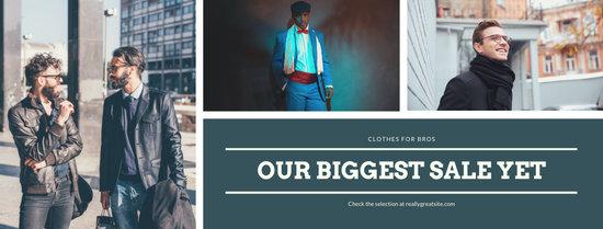 Green White Modern Men's Fashion Facebook Cover