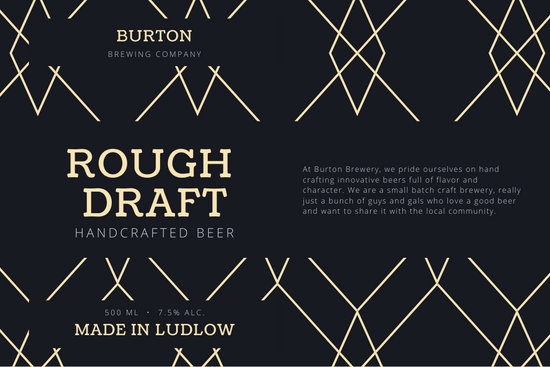Black and Yellow Geometric Pattern Beer Label