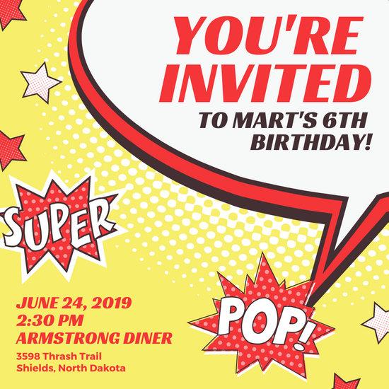 Red and Yellow Comics Superhero Invitation