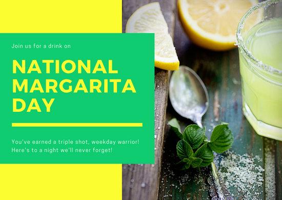 Yellow Green Photo Greeting National Margarita Day Card