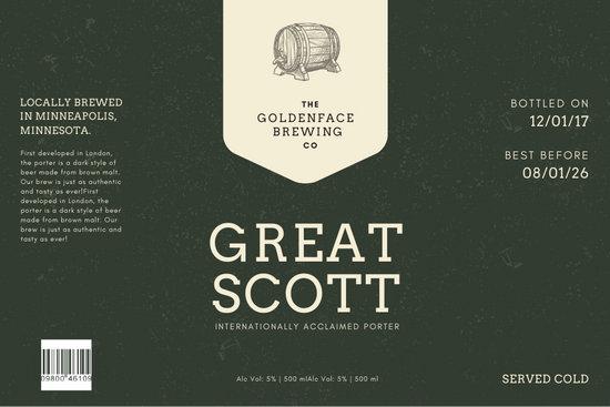 Dark Elegant Minimalist Beer Label