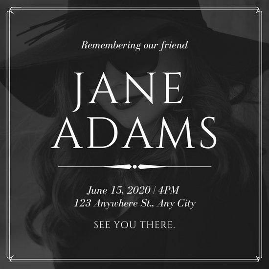 Black and White Bordered Photo Memorial Invitation