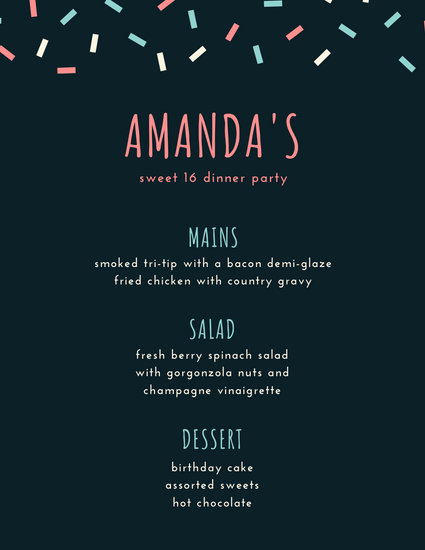 Pink and Blue Confetti Dinner Party Menu