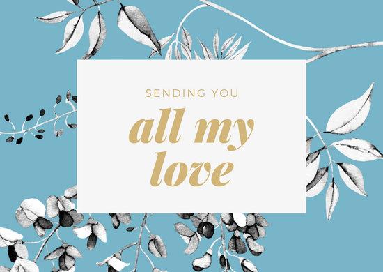 Blue White Floral Pattern Background Love Postcard
