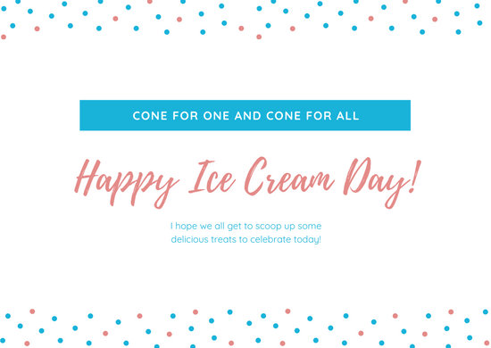 Blue Dots Greeting National Ice Cream Day Card