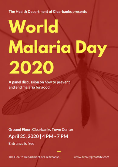 Red and Yellow Mosquito World Malaria Day Poster