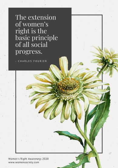 Black and Cream Floral Women's Rights Poster