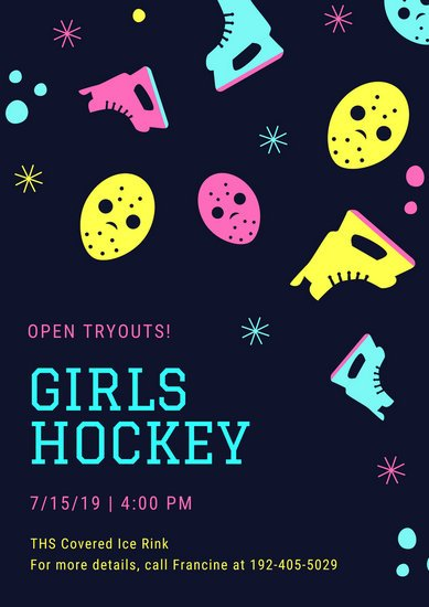 Navy Blue Girls Hockey Tryouts Poster