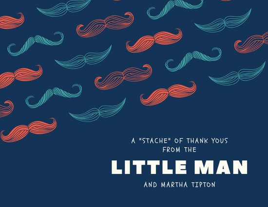 Blue Moustache Baby Shower Thank You Card