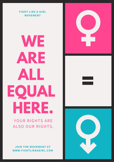 Colorful Grid Women's Rights Poster