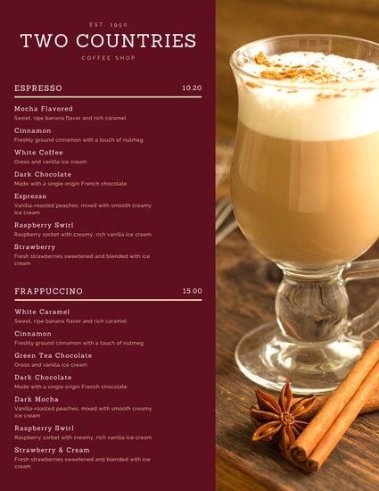 Maroon Coffee Drink Menu