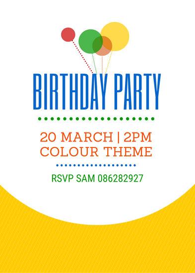 Illustrated Balloons Birthday Party Invitation