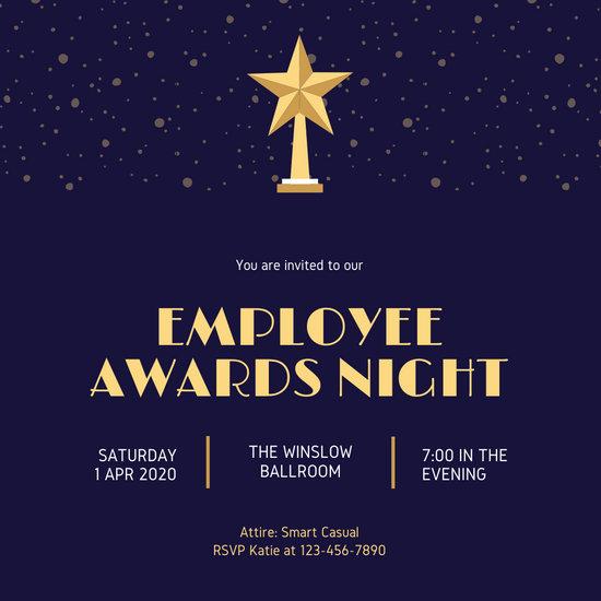 Dark Blue and Gold Star Trophy Awards Night Invitation