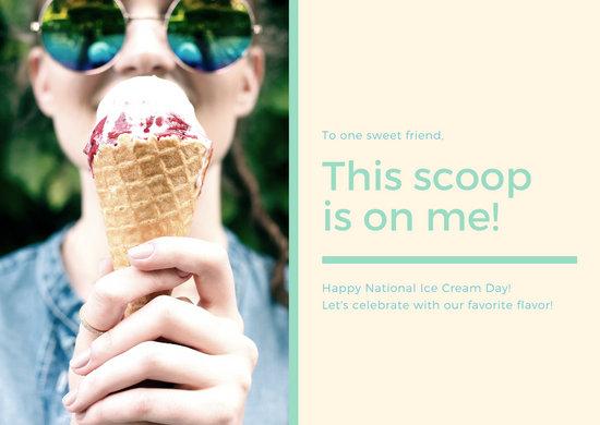 Cream Green Photo Greeting National Ice Cream Day Card