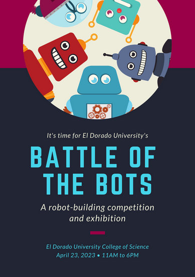 Blue Maroon Robots Science Fair Poster