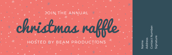 Blue and Red Snow Christmas Raffle Ticket